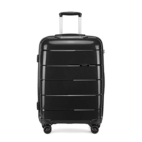Kono Hard Shell 24 inch Check in Medium Luggage in TSA Lock 4 Wheeled Spinner Polypropylene Suitcase with YKK Zipper (M (65cm - 66L), Black)