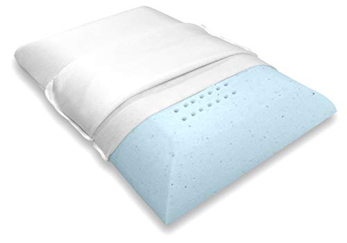 Bluewave Bedding Ultra Slim Gel Memory Foam Pillow for Stomach and Back Sleepers - Thin and Flat Therapeutic Design for Spinal Alignment, Better Breathing and Enhanced Sleeping (Standard Size)