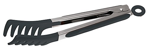 Sambonet Gadgets - Pinza/Molla Spaghetti in Acciaio Inox 18/10 e Silicone, 23 cm - Colore Nero