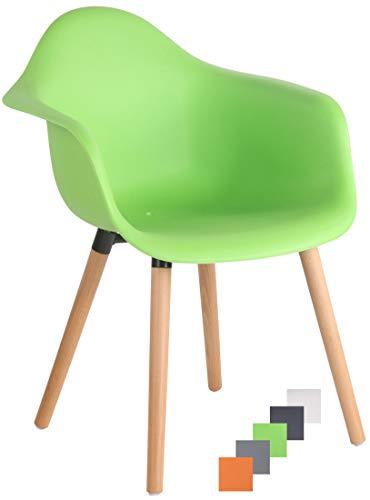 CLP Gartenstuhl Gaffney Mit Kunststoff-Sitzschale I Kunststoffstuhl Mit Rückenlehne I Sitzhöhe Von 45 cm I Buchenholzgestell, Farbe:grün, Gestell Farbe:Natura