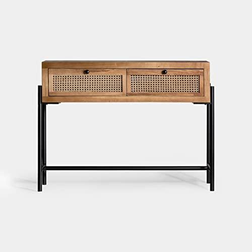DECORHOME - Muebles para entradas - Consola Kenia Marrón 2 Cajones (100x35x80)