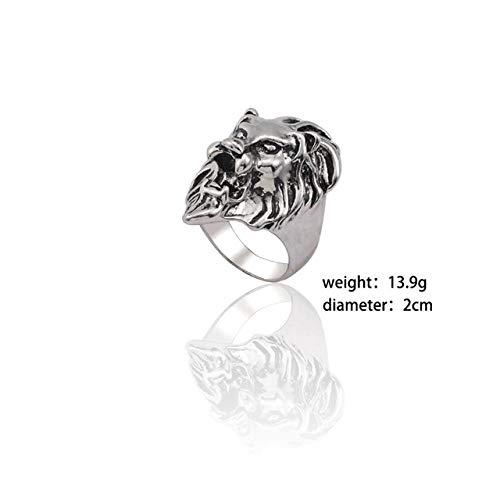 JIANGYA Punk Ring Men Retro Dragon Rabbit Snake Tiger Wolf Anillos Skeleton Eye Pentagram Animal Ring Jewelry, 8, Lion Head Ring