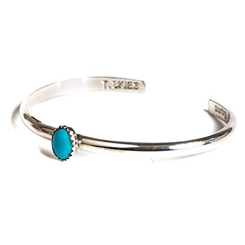 Tskies Classic Sterling Silver Authentic Turquoise Stone Bracelet for Women Native American Made (Large)