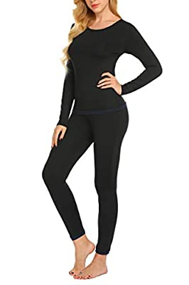 Ekouaer Women's Midweight Thermal Underwear Top Fleece Lined Base Layer Long Sleeve Shirt (Black M) by