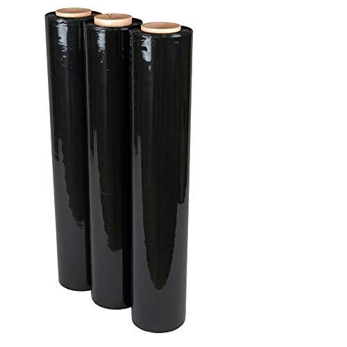 3 Rollen Stretchfolie 300 lfm Schwarz 500 mm 20 my Wickelfolie