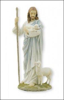 Biblegifts - Statua di Gesù Buon Pastore, 28 cm, in resina dipinta a mano, con scatola di Cristo che porta un agnello con una pecora ai suoi piedi.