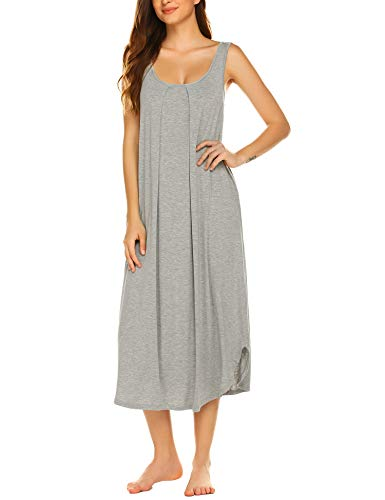 Ekouaer Sleeveless Nightgown Women Long Tank Sleepwear Vest Sleepshirt Light Grey XL