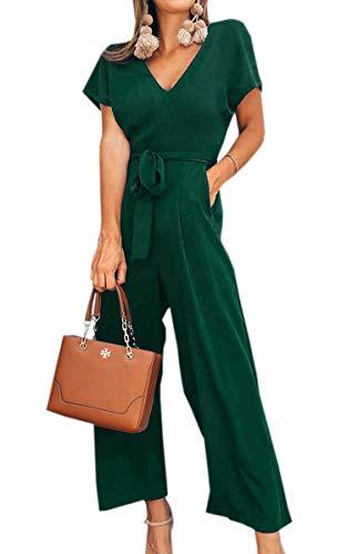 Spec4Y Damen Sommer Lang Jumpsuit V-Ausschnitt Kurzarm Overall Einfarbig Casual Hosenanzug mit Taschen und Gürtel Grün L