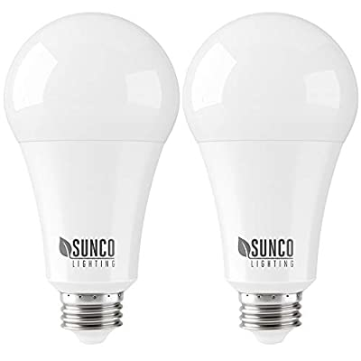 Sunco Lighting 2 Pack A21 LED Bulb 22W=150W, 3000K Warm White, 2550 LM, E26 Base, Dimmable, Indoor Light for Lamp - UL & Energy Star