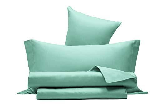 Juego de sábanas de raso de puro algodón, fabricado en Italia, para cama de matrimonio, color verde agua