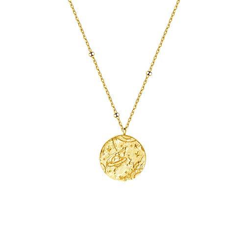 Onchic HalsketteDamen Gold Münzen KettenfürDamen mit Circle Planet Anhänger 925 Sterling Silber Vintage Fashion DamenKette Schmuck