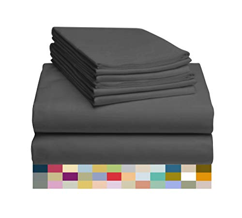 "LuxClub 6 PC Sheet Set Bamboo Sheets Deep Pockets 18"" Eco Friendly Wrinkle Free Machine Washable Hotel Bedding Silky Soft - Dark Grey Queen"