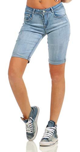 Fashion4Young Fashion4Young 4971 Damen Jeans Bermuda Denim Shorts Kurze Hose Slim Fit Stretch Destroyed (blau, S-36)