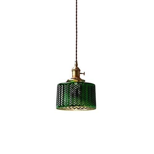 Chandelier de granja American Country colgante iluminación verde oscuro cristal corrugado suspensión ligera altura de luz lámpara de vacío ajustable for barras pasillos loft sala de estar decorativa i