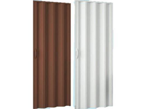PORTA A SOFFIETTO IN PVC con chiusura magnetica 82 x 210 cm. (Colore Noce)