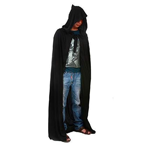 LL Halloween mantel mannen kostuum Halloween tuniek met capuchon mantel zwarte mantel duivel met pet lange Cape Cosplay Outfit