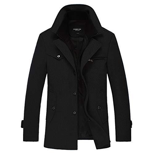 Manteau Homme Casual Chaud Blouson à Capuche Epais Veste Hiver Parka Trench Coat, Noir, L