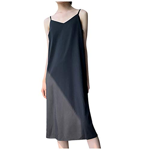 TOWAKM Damen Strandkleid Neckholder Bikini Cover up Chiffon Sommerkleid Ärmellos Kleid Sommer Bluseboho Loose Fit Bluse Blusenkleid M-XL(Schwarz,L)