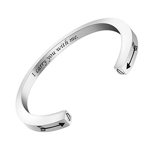 abooxiu Urn Bracelet for Ashes for Women Men Mantra Cuff Bangle Memorial Cremation Jewelry Stainless Steel Keepsake - Customize Available I carry you with me + Cupid's arrows