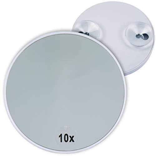Fantasia Kosmetikspiegel mit 10-Fach Vergrößerung, Premium Schminkspiegel Ø 8,5cm rund mit Saugnapf, Acryl Make-Up-Spiegel für zuhause und unterwegs, innen Ø 8,0 cm