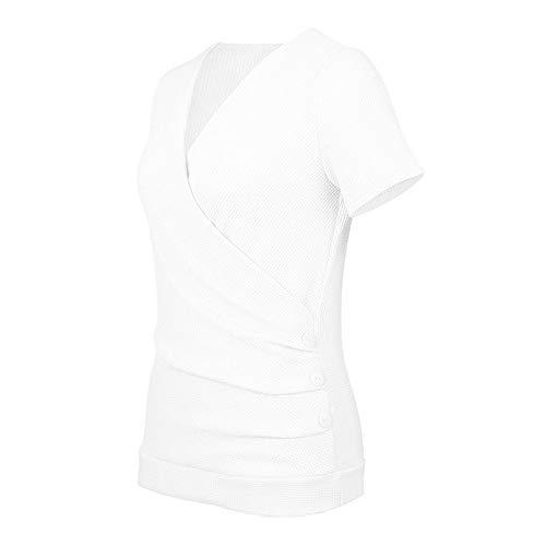 Derrick Aled(k) zhuke T-Shirt da Donna con Bottoni Estivi Slim Manica Lunga Elasticizzata Tinta Unita Scollo a V