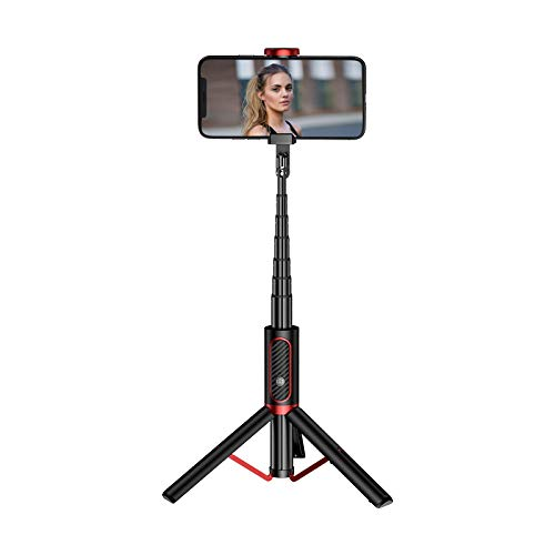 MaikcQ Selfie Stick, Home Travel Portátil Teléfono Móvil Selfie Stick Con Trípode Soporte Inalámbrico Bluetooth Control Remoto De Aleación De Aluminio Selfie Stick