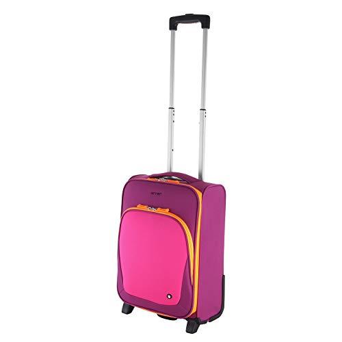 Let´s Go Reisekoffer für Kinder, Kleiner Trolley für Jungen und Mädchen mit verschiedenen Motive, Robustes Handgepäck mit 20 Liter Volumen (pink/orange)