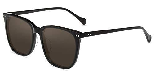 Firmoo Sonnenbrille Übergroß Polarisiert für Damen und Herren, Große Vintage Sonnenbrille UV400-Schutz, Entspiegelte Sonnenbrille mit Braune Polarisierten Gläsern Blendschutz, Eckige Brillegestelle