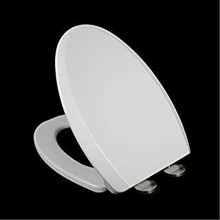 White Elongated Thick Toilet Seat Soft Close Heavy Duty Quick Release Grip-Tight Bumpers U V Shape AU Quick-Attach Hardwar...