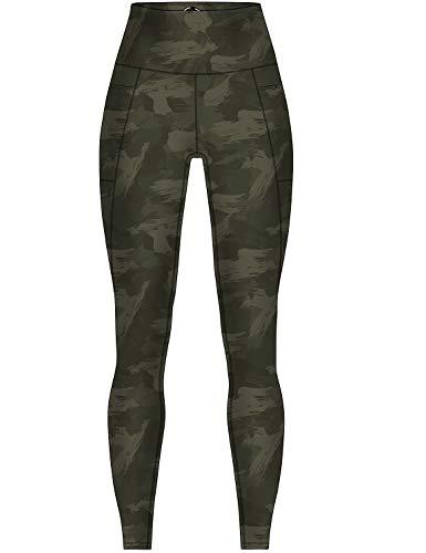 COOLOMG Damen Yoga Leggings Sporthose Laufhose Fitnesshose Gemustert Blickdicht mit Taschen Camo-armeegrün L