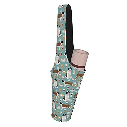 Saint Bernard DogYoga Sac pour tapis de yoga avec 63 poches Taille compatible avec la plupart des tailles de sac fourre-tout de yoga, coffret cadeau de yoga, kit de démarrage