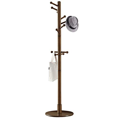 Vlush Sturdy Wooden Coat Rack Stand, Entryway Hall Tree Coat Tree with Solid Round Base for Hat,Clothes,Purse,Scarves,Handbags,Umbrella-(Dark Brown, 11 Hooks)