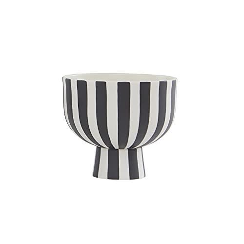 OYOY Living Toppu L10231-101 Bowl - Jarrón decorativo (cerámica, 15 x 13 cm), diseño de rayas, color blanco y negro