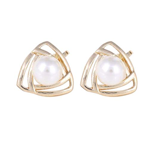 Guangcailun Womens Girls Sparkling Pearls Hollow Triangular Stud Earrings Gold