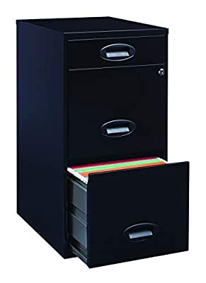 "Office Dimensions 18"" Deep 3 Drawer Metal Organizer File Cabinet with Oval Handles, Black"