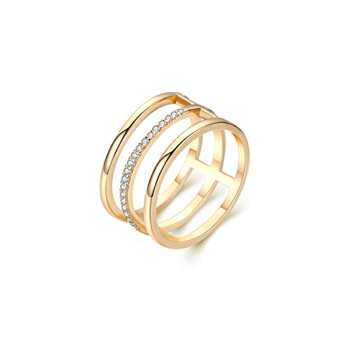 Womens 14k Gold Open Parallel Bar Rings,Double X Criss Cross Double Bar Parallel Cuff Half Circle Black Zircon Infinity Adjustable Ring Engagement Wedding Lady Girls Band (CAGE, 8)