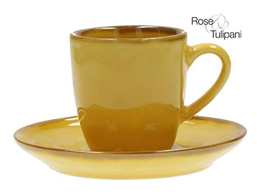 Rose e Tulipani 2er Set Concerto OCRA Espressotasse mit Untertasse Gelb Espresso Tasse italienisch Steinzeug mediterraner Italien Retro Stil