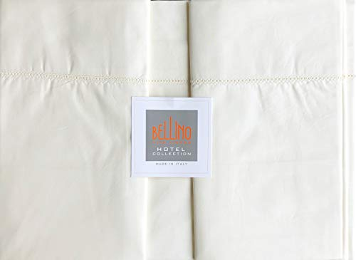 Bellino Hotel Collection Italy Solid Cream/Off-White Luxury Queen Size 4pc Sheet Set with a Lace Ladder Stitch Line Along Hem 100% Cotton Percale