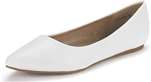 DREAM PAIRS Sole Classic Women's Casual Pointed Toe Ballet Comfort Soft Slip On Flats Shoes White PU Size 11