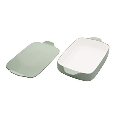 KitchenAid Vitrified Stoneware Rectangular Baker with Lid/Trivet, 4.5-Quart, Pistachio