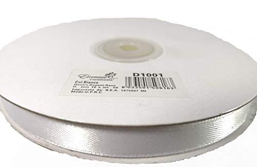 Nastro Bianco doppio raso h 10mm 50mt