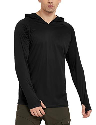Safort Men's UPF 50+ Sun Protection Hoodie Long Sleeve T-Shirt for Running, Fishing, Hiking, Black S