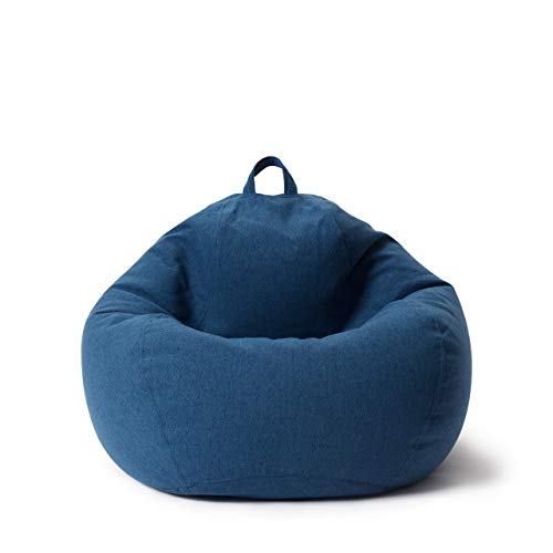 Lumaland Puff Pera Comfort Line con Taburete Disponible - Sillón Relax Puff Moldeable de Interior - Puff Infantiles con Relleno Incluido - 185 L 80x90x50 cm - Azul Oscuro