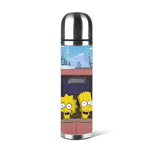 haoqianyanbaihuodian Simpsons taza de vacío aislada Stainl bellamente personalizado taza de agua deportes café viaje taza taza de cuero cubierta doble pared capacidad 17 oz/500 ml