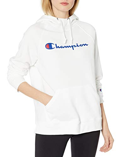 Champion Women's Powerblend Graphic Hoodie, White, Small