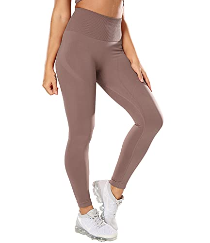 COMFREE Leggings Sportivi Donna Vita Alta Yoga Pants PantaloniAlta Elastico per Fitness Palestra Alta Elastico Marrone S