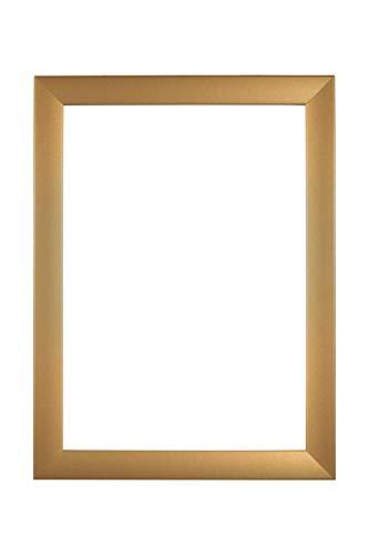 EUROLine35 mm Bilderrahmen für 88 x 123 cm Bilder, Farbe: Gold Schlicht, inkl. entspiegeltem Acrylglas und MDF Rückwand, Rahmen Breite: 35 mm, Außenmaß: 93,8 x 128,8 cm