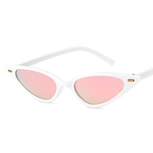 SCAYK Mujeres Sexy Gato Ojo Gafas de Sol Marca de diseño pequeño triángulo Vintage Gafas de Sol Retro cateye Gafas uv400 Gafas de Sol Gafas de Ojos Moda Gafas de Sol (Lenses Color : C4Pink)