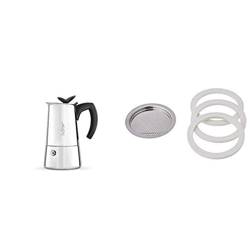 Bialetti - Musa Nuova Cafetière en Inox - 4 Tasses & 0800401 Joints pour cafetieres Italiennes, Caoutchouc, Blanc/Inox, 19x11,5x0,2 cm