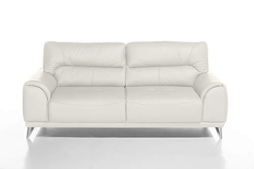 Mivano 3-Sitzer Couch Frisco / 3er Ledercouch in Kunstleder passend zum Sessel und 2er Sofa Frisco / Sofagarnitur / 210 x 92 x 96 / Weiß